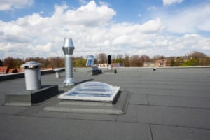 inox chimney on the flat roof